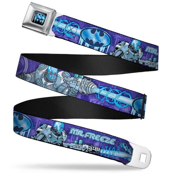 Frozen Batman Shield Full Color Black Blues Mr. Freeze Poses Frozen Batman Seatbelt Belt