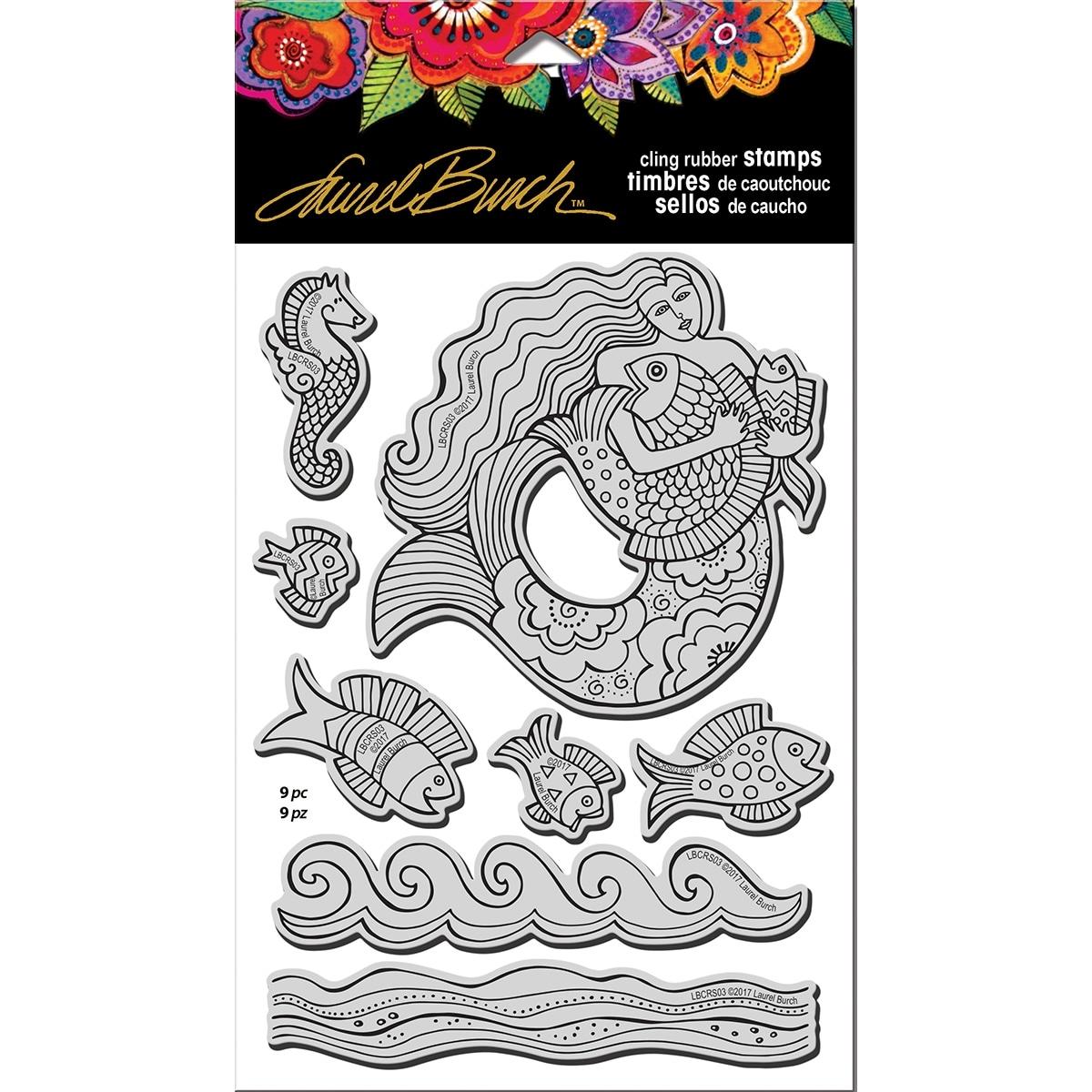 Mermaid Fish Stampendous Rubber W//Template Laurel Burch Stamp Set