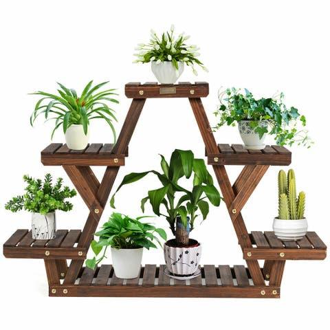 Gymax Wood Plant Stand Triangular Shelf 6 Pots Flower Shelf Storage - 32'' x 10'' x 30'' (L x W x H)