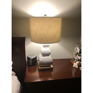 "Vienna 25.5"" Ceramic LED Table Lamp, White/Gold by JONATHAN Y"