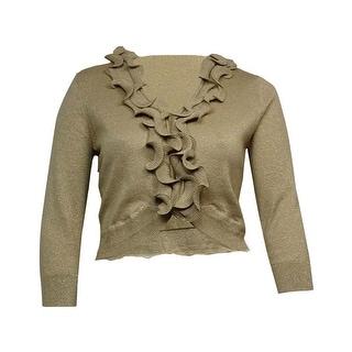 Cable & Gauge Women's Ruffled Long Sleeves Metallic Cardigan
