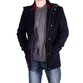 Men Wool Blend Coat - Blue