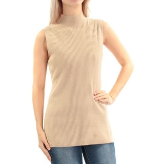 Womens Beige Sleeveless Jewel Neck Casual Sweater Size S