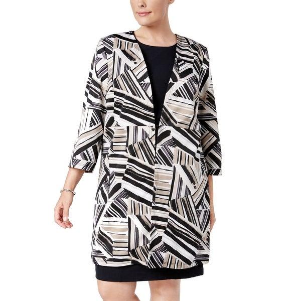 Kasper Brown Women's Size 16W Plus Striped Hook Topper Jacket