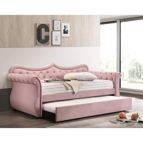 Daybed & Trundle, Pink Velvet
