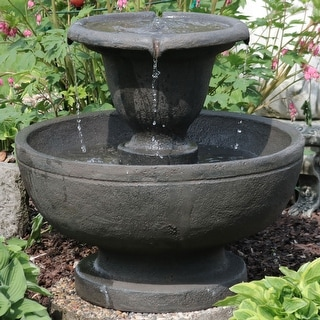 Sunnydaze Streaming Falls 2-Tier Outdoor Patio Garden Water Fountain - 25-Inch