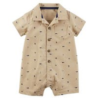 Carter's Baby Boys' Schiffli Print Snap-Up Cotton Romper, 9 Months