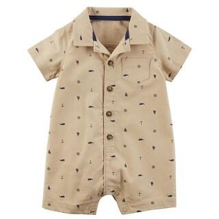 Carter's Baby Boys' Schiffli Print Snap-Up Cotton Romper, 9 Months - Khaki/Ocean