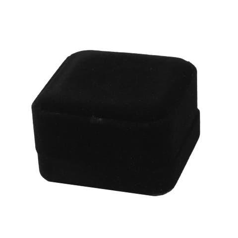 Birthday Velvet Square Jewelry Ring Earring Storage Case Gift Holder - Black
