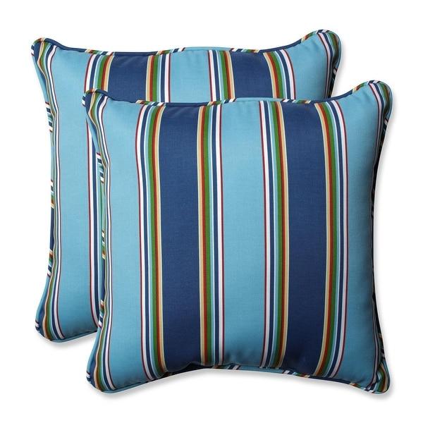 "Set of 2 Blue Awning Stripe Outdoor Patio Throw Pillows 18.5"""