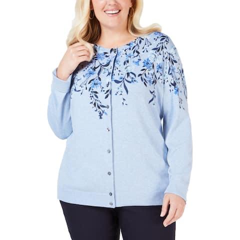 Karen Scott Womens Cardigan Top Printed Light Weight - Light Blue Heather