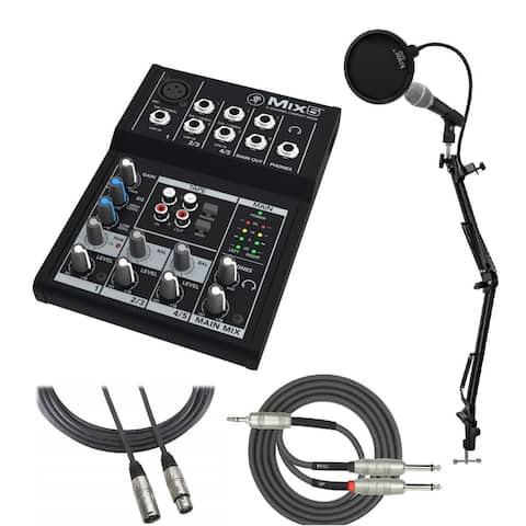 Mackie Mix5 5-Ch Mixer with Mic, Knox Mic Stand, Cable and Pop Filter