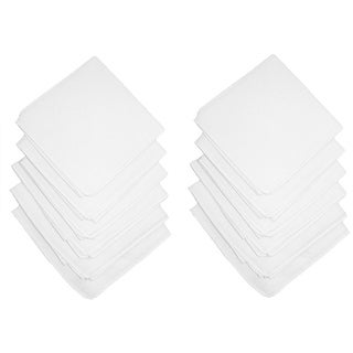 Axxents Cotton White Handkerchiefs (Pack of 12), White - One Size