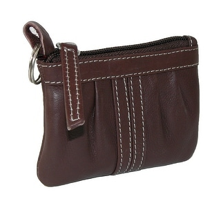 Paul & Taylor Women's Leather Zippered Compact Coin Purse and Key Ring - One size