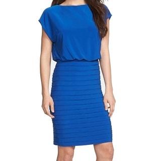 Adrianna Papell NEW Blue Women's Size 10 Shutter Pleat Blouson Dress