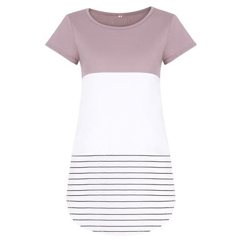 2018 New Spring and Summer Round Neck Lace Stitching Striped T-Shirt Women's Clothing