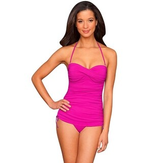 La Blanca Raspberry Twist Front Bandeau Side Adjustable One Piece Swimsuit - Pink