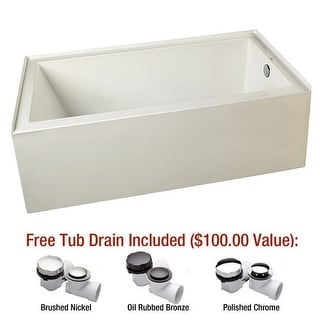 "Mirabelle MIREDA6032R Edenton 60"" X 32"" Three-Wall Alcove Air Bath Tub with Righ - White"