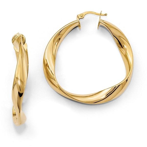 Italian 14k Gold Twisted Hoop Earrings