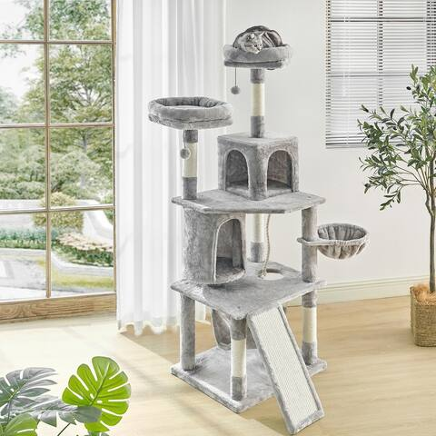 TiramisuBest 64.6 Inches Cat Tree with Large Scratching Board