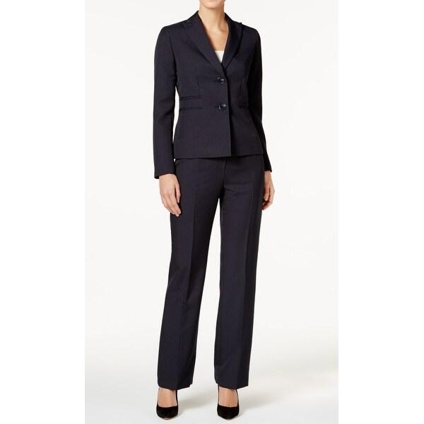 Shop Le Suit Navy Blue Womens Size 14 Pinstriped Two Button Pant