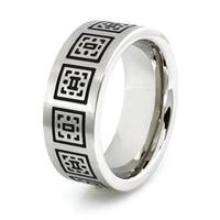 Stainless Steel Ring w/ Greek Pattern Design