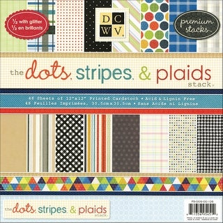 "Dcwv Paper Stack 12""X12"" 48/Pkg-Dots, Stripes & Plaids, 24 Designs/2 Ea"