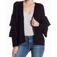 RDI Black Womens Size Medium M Ruffle Knitted Cardigan Sweater
