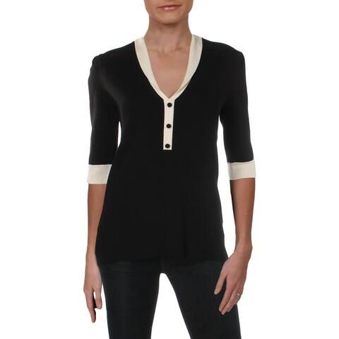 Anne Klein Womens Pullover Sweater Shawl Collar Colorblock - M