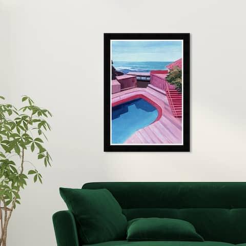 Wynwood Studio 'Pink Place' Nautical and Coastal Wall Art Framed Print Beach Essentials - Pink, Blue