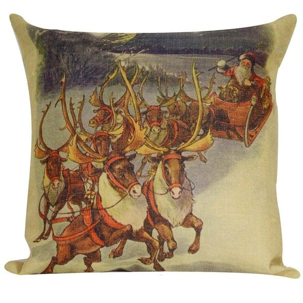 """18"""" Vintage Santa Claus with Reindeer and Sleigh Decorative Christmas Throw Pillow Cover with Insert"""