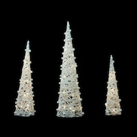 set of 3 battery operated white and silver glittered led lighted cone tree christmas decoration 3925 - Battery Lighted Christmas Decorations
