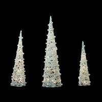 set of 3 battery operated white and silver glittered led lighted cone tree christmas decoration 3925 - Pre Lit Polar Bear Christmas Decoration Set Of 3