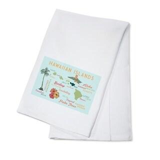 Hawaiian Islands - Typography & Icons - LP Artwork (100% Cotton Towel Absorbent)