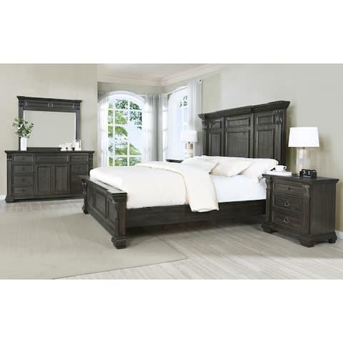 Farson Distressed Dark Walnut Finish Wood Panel Bed, Dresser, Mirror, Nightstand