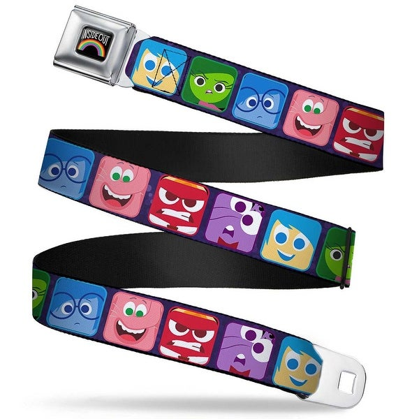 Inside Out Rainbow Full Color Black White Multi Color Inside Out 6 Seatbelt Belt