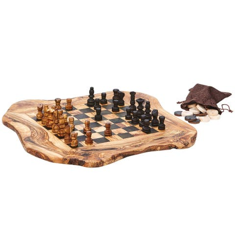 "Real Olive Wood Chess and Checkers Set - Rough Cut - 15"" x 16"" - 15 in. x 16 in."