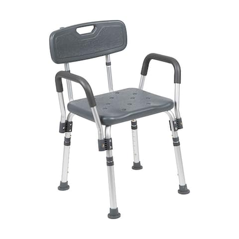 Offex 300 Lb Capacity Adjustable Bath Shower Chair with Quick Release Back Arms