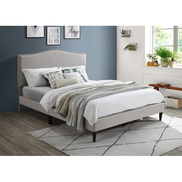 Ovis Mia Nailhead Platform Bed, Upholstered Bed. Opens flyout.