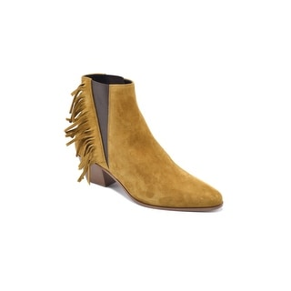 Saint Laurent Chelsea Bootie With Side Fringe Ankle Boots in Suede Size 37 / 7