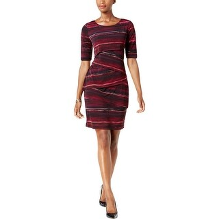 Connected Apparel Womens Petites Cocktail Dress Tiered Knee-Length - 14P