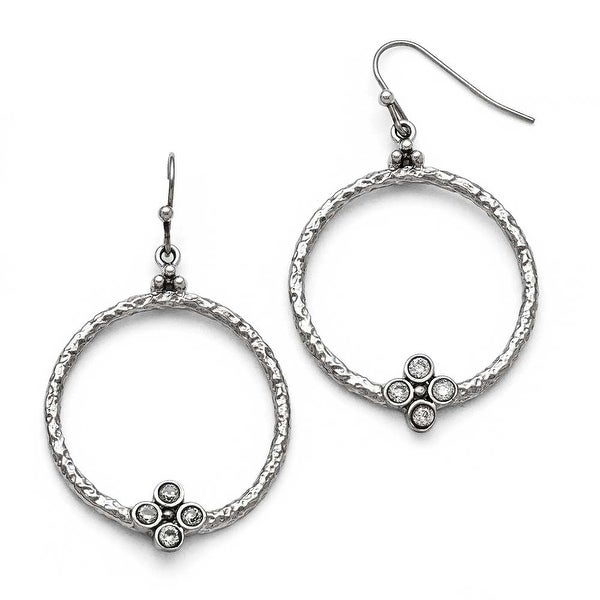 Chisel Stainless Steel Polished/Textured CZ Shepherd Hook Earrings