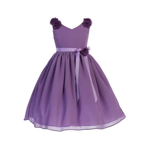 de5458b88 Girls Lilac Floral Applique Chiffon Junior Bridesmaid Easter Dress