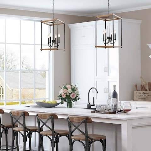 "Modern Farmhouse 4-lights Lantern Candle Chandelier Pendant Faux Wood Island Lighting for Kitchen - W 14"" x H 23.5"""