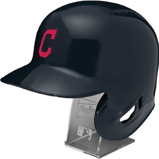 Cleveland Indians Rawlings Full Size Batting Helmet Left Ear Flap with Display stand