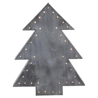 """19.75"""" Large Lighted Grey Tree Christmas Table Top Decoration"""