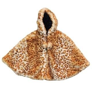 Little Girls Snow Leopard Faux Fur Poncho 1T-6 (3 options available)