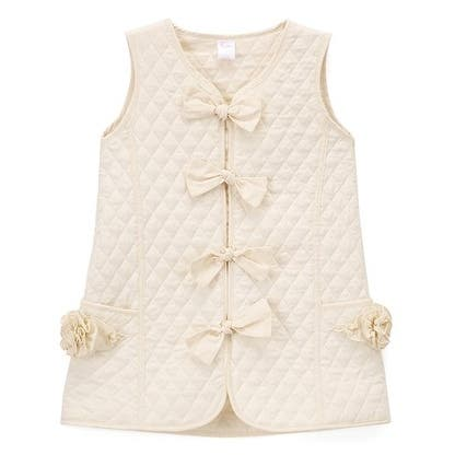 Little Girls Ivory Quilted Texture Bow Button Flower Pocket Vest