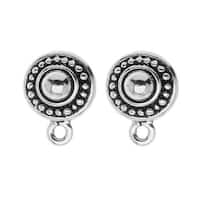 TierraCast Silver Plated Pewter Stud Post Earrings Beaded Round 11mm (1 Pair)