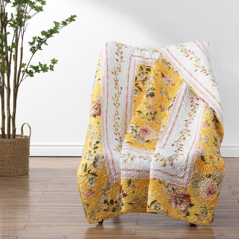 Barefoot Bungalow Finley Quilted Reversible Throw Blanket